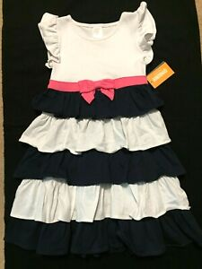 Gymboree Dress Girl Sz 5 Navy Pink Ruffles NWT PLAYFUL POPPIES Bow School