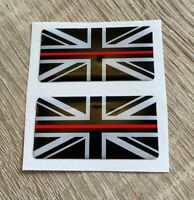 Union Jack Thin Red Line 3D Gel Domed Sticker Flag Domed Decal 50x25mm x2