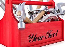 2x Personalizzato In Vinile Decalcomania. per lo stoccaggio Casella Tool Box. SCEGLI Colori e font