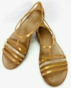 Crocs Women Sandals Uk6 W8 Isabella Gold Flat Summer Strappy Gladiator Slip On