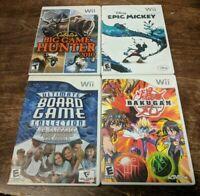 Wii Lot/Bundle CABELA'S BIG GAME HUNTER + EPIC MICKEY + BAKUGAN + BOARD GAMES