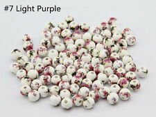 10pc New Ceramic Porcelain Flower Round Loose Beads Jewelry Making 8mm 10mm 12mm