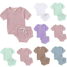 Infant Toddler Baby Girls Boys Solid T shirt Tops Bow Shorts 2PCS Outfits Sets