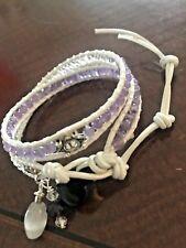 Amethyst wrap around bracelet Bohemian with Crystals  Bead-work