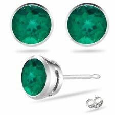 Created Emerald Stud Martini Round Earrings in 14k White Gold AAA