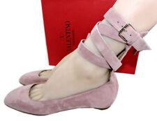 Valentino Pink Suede Tango Mauve Ankle Strap Pump Ballerina Shoe 38 Ballets 7.5