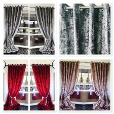 Crushed Velvet Curtains Eyelet Ring Top thick long Ready Made BLACKOUT curtains