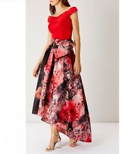 ex Coast Hi Low Occassion Red Floral Bridsmaid Wedding Skirt UK 8