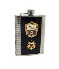 8 oz. Flask w/ Russian USSR Soviet Military Badge -NAVY/SUBMARINE
