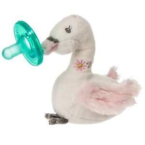 WubbaNub Infant Dummy and Soft Toy, Itsy Glitzy Swan by Mary Meyer