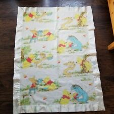 Vintage Vtg Winnie The Pooh Baby Blanket Satin Trim Eeyore Rabbit Piglet Honey