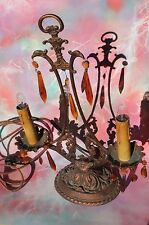Candelabra Chandelier Table Lamp Brass with Hanging Amber Crystals Antique