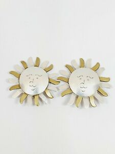 Vintage 925 Mexico TP-115 Sterling Silver Sun Face 24.9gr Clip on Earrings (84)