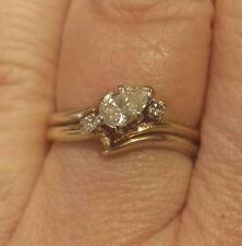 Solitaire W/Accents Ring, Right-Hand Ring? 14K Yellow Gold Pear-Shape Diamond