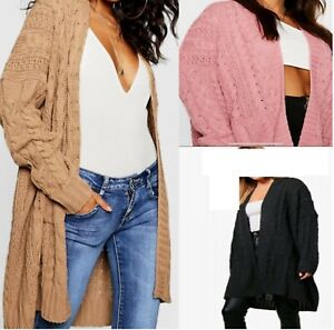 Ladies Oversize Baggy Chunky Cable Knitted Pocket Long Cape Womens Cardigan 8-22
