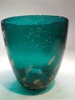 Vintage Green Glass Bubble Hand Blown Vase