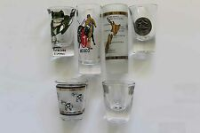 SHOT GLASSES _ INTERNATIONAL PATTERN _ SIX DIFFERENT SIZES _ VARIOUS COUNTRIES