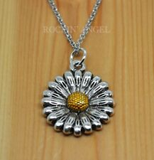 Antique Silver Plt Daisy Flower Pendant Chain Necklace Girls Ladies Gift Nature