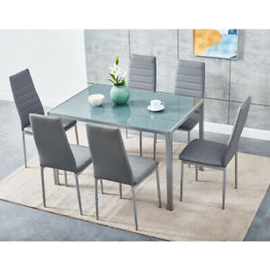 Grey Glass Dining Table and 4 / 6 Padded Chairs Set Home Kitchen Furniture New