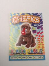 TY Beanie Babies Glow in the Dark Sticker Coloring Card CHEEKS