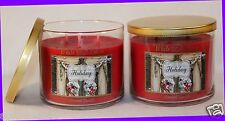 2 Jars Bath & Body Works White Barn HOLIDAY 3-Wick Candle 14.5 oz