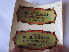 1940's Vintage Sold by W.B. Corts Edmeston, NY Phone 2741 Water Transfer Decal