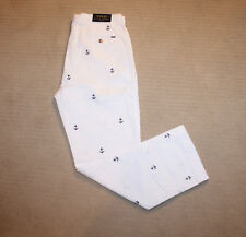 NEW Polo Ralph Lauren White Embroidered Anchor Patch Logo Classic Chino Pants