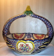 Authentic Henriot Quimper Swan Basket Bowl Very Ornate RARE Signed Large Faience