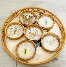 More details for vintage butterfly 1970s bamboo serving tray with 6 coasters