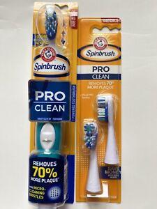 ARM HAMMER Spinbrush Pro Clean Powered Toothbrush& 2Refill Heads Medium
