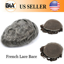 GEX Toupee Mens Hairpiece Wig FRENCH LACE Remy Hair Replacement System1B65#