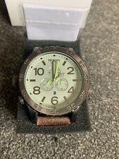 NIXON 51-30 Chrono Gunmetal Brown Leather Strap Ltd Edition. New Battery.