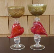 PAIR SIGNED ART GLASS CHAMPAGNES WITH RED HEARTS GOLD DUST SILVER FLECKS MURANO?