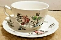 """Johnson Brothers Cup & Saucer """"Day In June"""" Full Color Floral Design 1960's"""