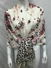 100% PASHMINA CASHMERE FLOWER LEOPARD PRINT SCARF WRAP ALL SEASON PINK BROWN