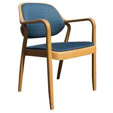 (1) Knoll Don Petitt 1105 Side Chair Bent Oak Wood Blue (MR7641)