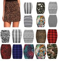 Ladies Womens Leopard,Tartan, Comic Print Summer Short Mini Skirt Plus Size 8-22