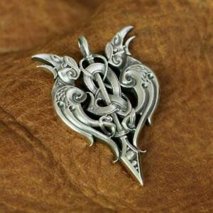 925 Sterling Silver High Details Double Crow Mens Biker Charm Pendant Gift TA144