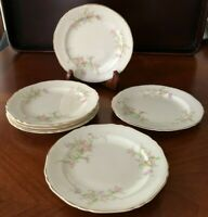 "Set 6 Crown Potteries USA 9107 BREAD BUTTER PLATES 6.25"" Pink Lavender Flowers"