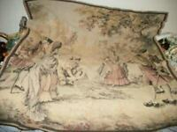 1920's TAPESTRY FRENCH FISHING SCENE COLONIAL COUPLES THE CATCH MUTED COLORS