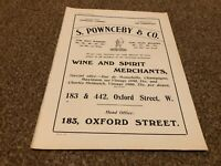 "(PLP9) ADVERT 11X8"" WINE AND SPIRIT MERCHANTS : S. POWNCEBY & CO"