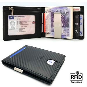 Mens Wallets Carbon Fiber RFID Blocking Money Clip Card Holder Black