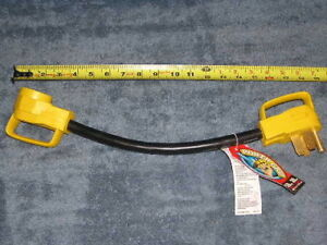 "Camco 50a to 30a 18"" PowerGrip Dogbone Electrical Cord Adapter w/ Handle 55175"