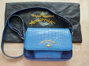 Vivienne Westwood Anglomania Blue Navy Crocodile Embossed Crossbody Bag RRP £360