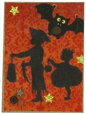 ACEO ATC Art Collage Print Halloween Pirate Hat Knife Pumpkin Bat Trick or Treat