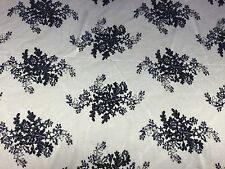 """Navy Blue Oswald Floral Wedding Gown Dress Lace Fabric - Sold By Yard - 51""""/52"""""""