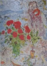 Chagall Marc: The Bouquet Red - Lithography Numbered/Signed, 2000ex, 1989