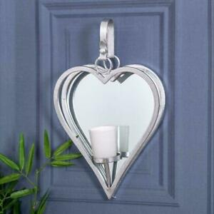 Heart Silver Mirrored Wall Mounted Sconce Candle Holder Metal Mirrored Chic