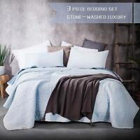 Reversible Stonewashed Microfiber Quilt Soft Bedspread Coverlet Cozy Bedding Set