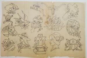 vintage antique tattoo original tracing paper flash stencil doc king zeis 8x12